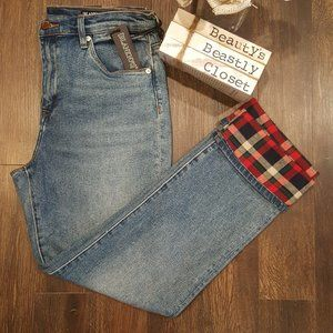 Blank NYC The Madison Crop Plaid High Rise Jeans